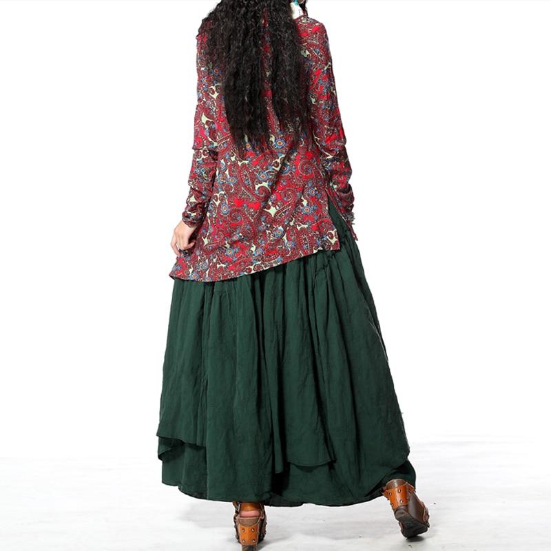 Vintage Floral Swing Green Women X3017 Hem Elegant Asymmetric Skirt Embroidery Ethnic Saia 2017 Cotton Yuzi amp;retro Skirts New Rpnxq4xE