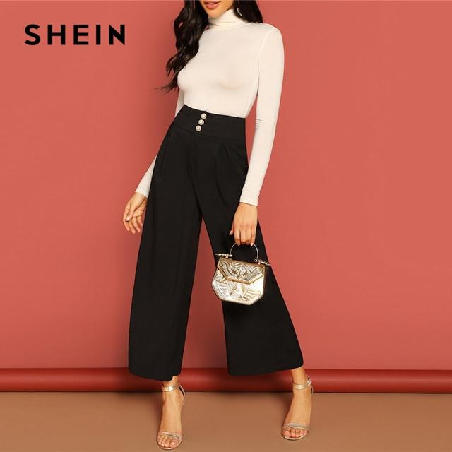 SHEIN Button Fly High Waist Wide Leg Pants Women Elegant OL Work 2019 Spring Loose Solid Minimalist Workwear Trousers
