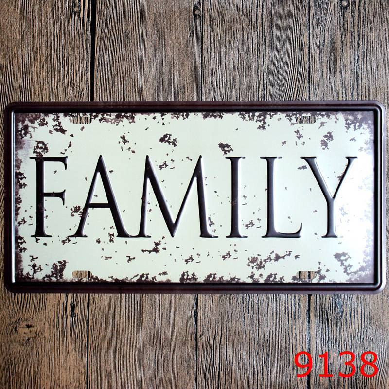 Direct selling LOSICOE Vintage license plate FAMILY Wall art craft metal painting vintage Iron for bar home decor 15X30 CM