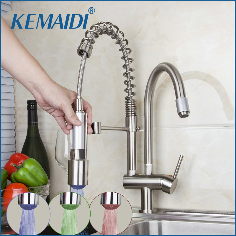 KEMAIDI New Arrival Double Spout Solid Brass Spring Pull Out Kitchen Faucet Nickel Brushed Kitchen LED Faucet Mixer Tap new kitchen faucet nickel brushed swivel spout 2 spout mixer tap cover plate