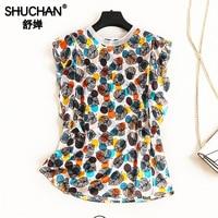 Shuchan 100% Natural Silk Women Blouses with Ruffles Sleeve Tank Blusas Mujer De Moda 2019 Womens Clothing Print Leaf 12032