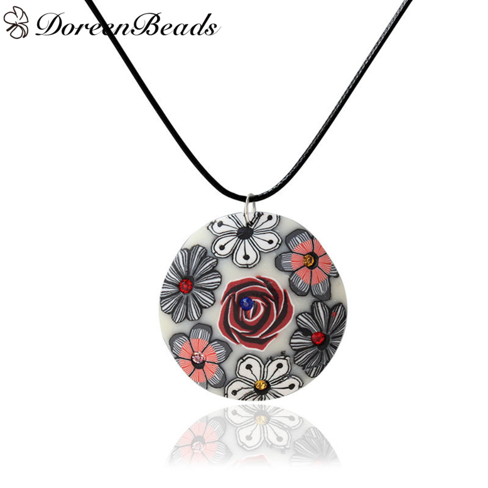 DoreenBeads 1 PC Round Resin Pendant Necklaces Bohemia Multicolor Flowers Pattern with Rhinestones Black Wax Rope Chain 44.5cm