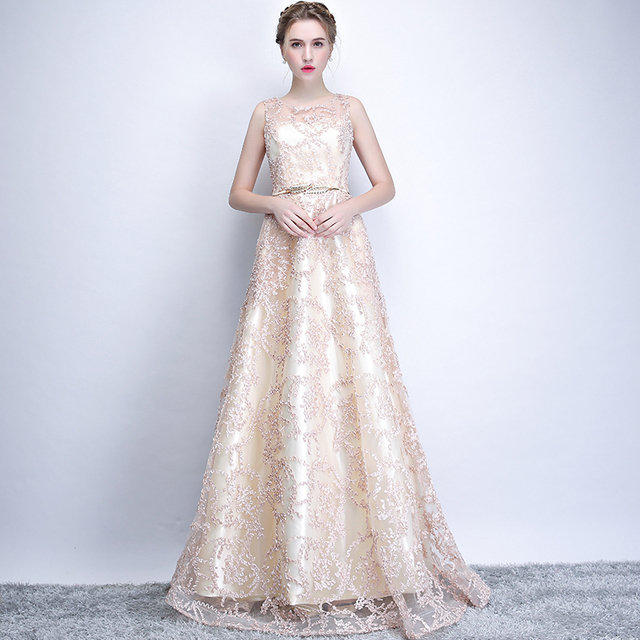 New 2019 Evening Dress Elegant Banquet Champagne Lace Sleeveless Floor-length Long Party Formal Gown plus size Robe De Soiree 4