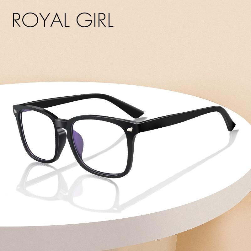 ROYAL GIRL Anti Blue Lights Glasses Women Men Classic Square Sunglasses Computer Reading Game Night Vision Nerd Eyeglasses os013