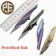 Petrified fish  Pocket Knife S35VN Blade Ball Bearing Titanium Handle Tactical Folding Letter Opener Tool Utilily