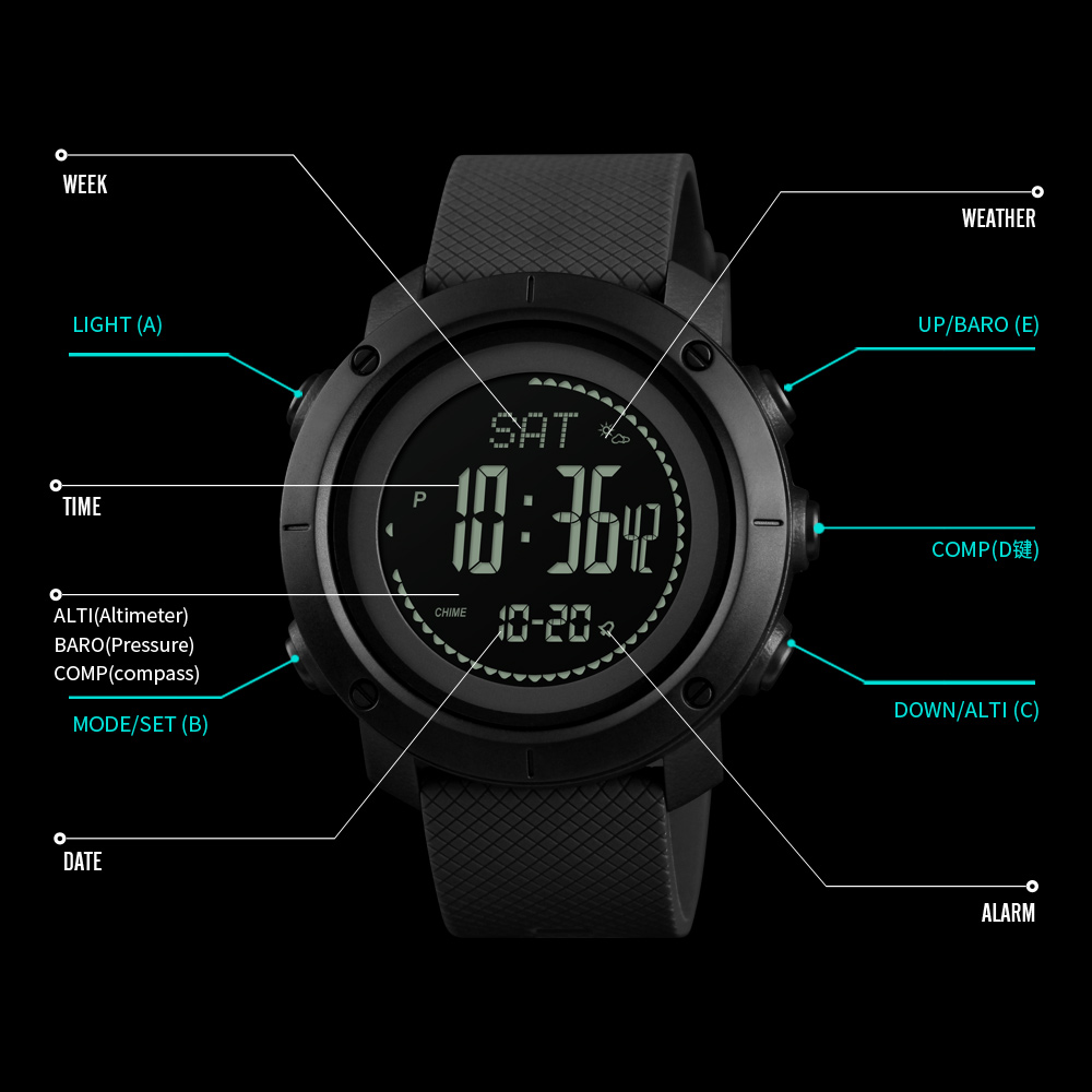 Shop For Cheap Skmei Outdoor Sports Watches Fashion Compass Altimeter Barometer Thermometer Digital Watch Men Hiking Wristwatches Relogio Male Digital Watches