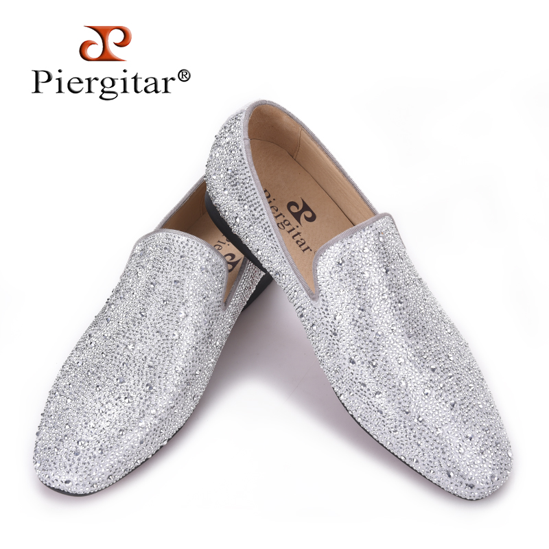 Piergitar 2018 New Style Genuine Leather Men Loafers with Silver Rhinestone Fashion Party and Banquet mens casual shoes slip-on