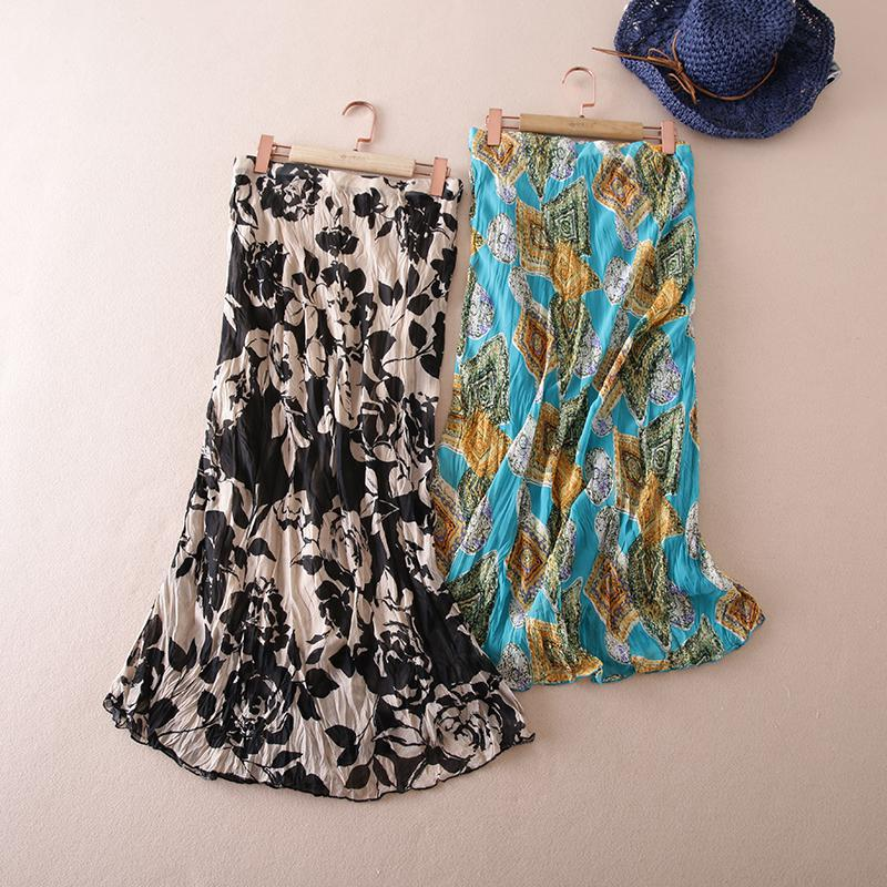 Fashion Summer Skirt 2017 Vintage Floral Print Long Skirt Women Summer Ankle-length Elegant Beach Maxi Skirt Boho High Waist