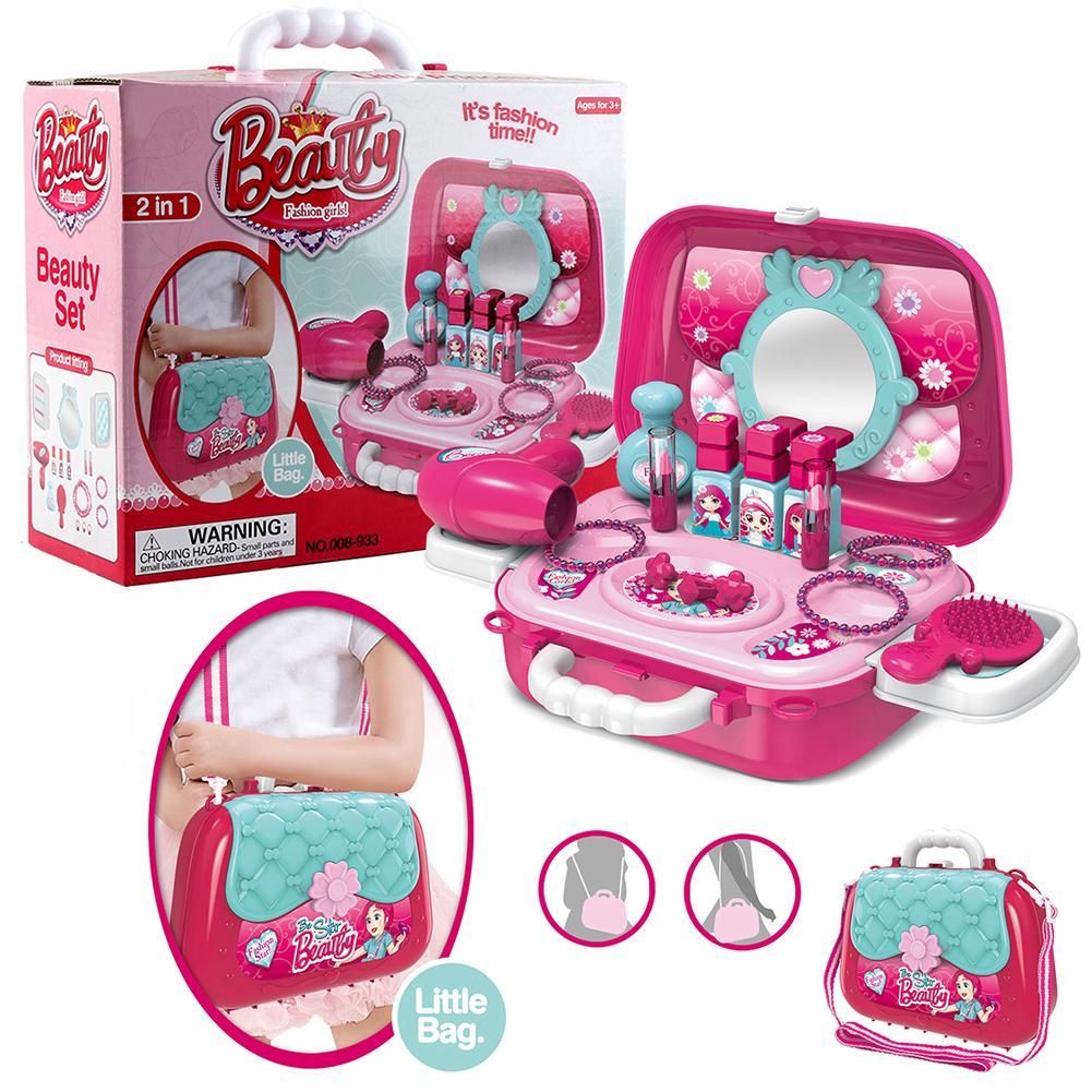 Pretend Play Kids Toys Makeup Set Hairdressing Simulation Plastic Toy For Girls Dressing Cosmetic Travel Handbag Box