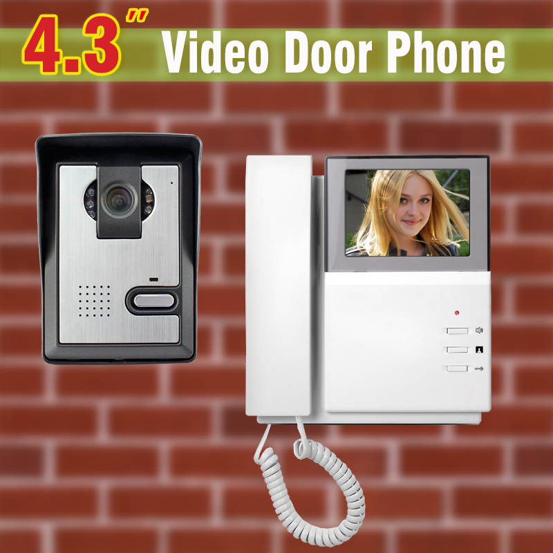 4.3 LCD Video Door Phone Intercom Doorbell System Kit IR Camera Door bell Intercom Doorphone Home Security yobang security video doorphone camera outdoor doorphone camera lcd monitor video door phone door intercom system doorbell