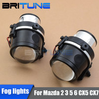 HID Bi xenon Fog Light Lenses Accessory For Mazda 2 3 5 6/Mazda CX5 CX7/Mazda Axela Cars Retrofit Styling Using H11 Xenon Lamps