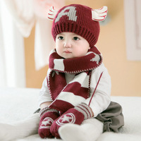 3 Pcs Set Casual Hedging Crochet Child Hat Warm Letter Knitted Kids Caps For Solid Wool