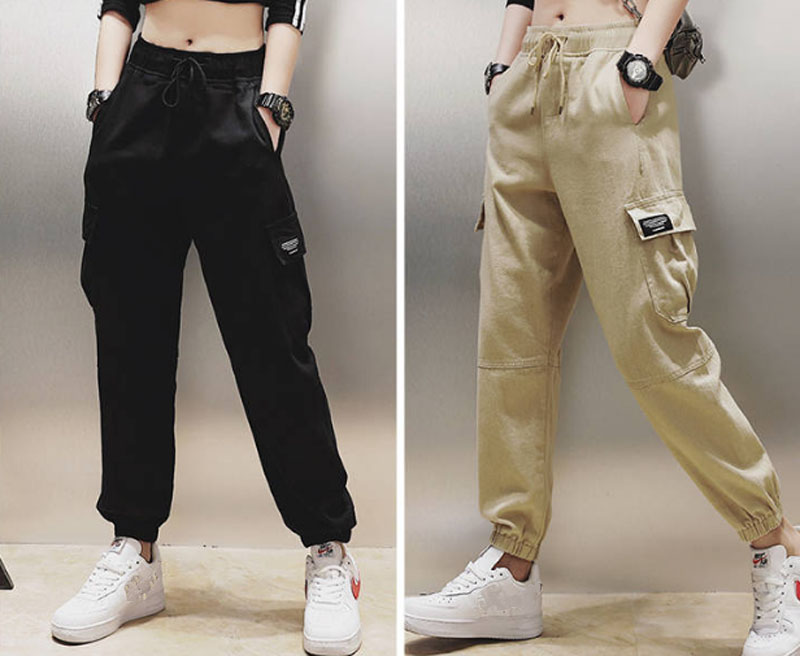 Cotton High Waist Cargo Pants 2019 Spring Pink Khaki Black Female Trousers 57