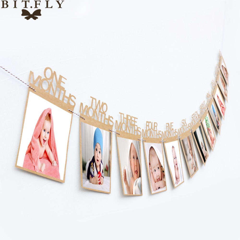 1-12 Month Baby Photo Frame Birthday Monthly Banner Garlands Holder Wall Hanging Rope Folder Kids Gift Room Home Decorations