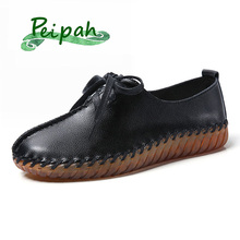 PEIPAH 2019 Designer Hand-sewn Women Genuine Leather Shoes lace-up Female Flats Casual Solid  Womens Loafers