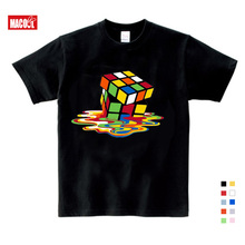 High Quality Tees Pure Cotton Student T Shirt Summer Boy Cube Colored Melted Square T-Shirt Christmas Best Gift  6 8 3