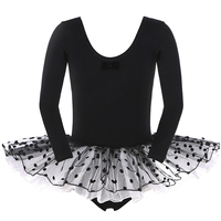 Retail Hot Sale 1Pcs New Polka Dots Pink Black Flower Girls Leotard Ballet Tutu Skate Dance