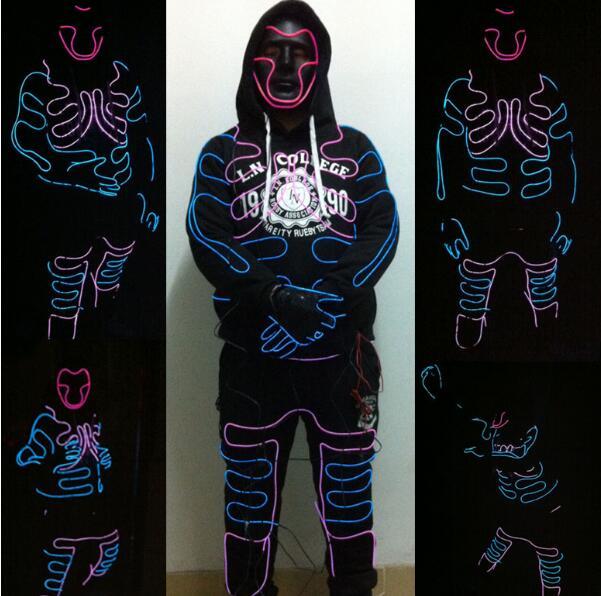 EL costume New Fashion EL SuitsLED/EL Clothes Luminous Costumes Glowing Gloves Shoes Light Clothing Men EL Masks Clothe Dance
