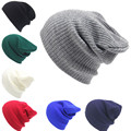 2017 New Arrival Knitting Wool Hats Female Male Autumn Winter Hip-Hop Skullies Beanies Solid Color Bonnet Unisex Cap Hat  S3627