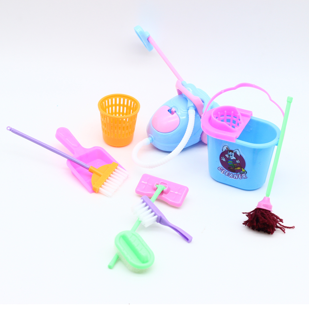 1 компл. = 9 шт. куклы семьи Cleaning tool for Barbie Куклы бытовая DIY toys