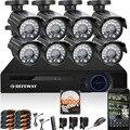 DEFEWAY 8 1200TVL 720 P HD CCTV Ao Ar Livre Sistema de Câmera de Segurança 1080N Home Video Surveillance DVR Kit 2 TB 8CH 1080 P HDMI saída