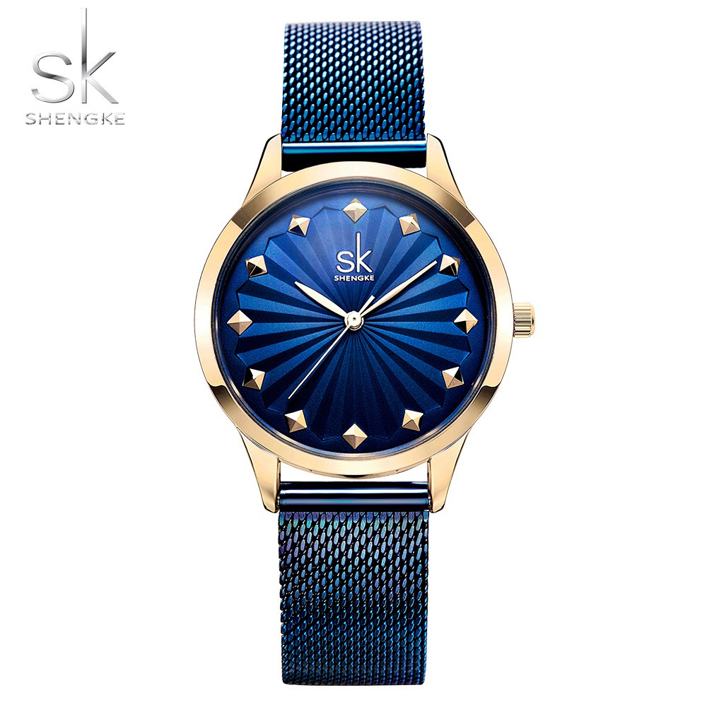 цены на Shengke Wrist Watch Women Fashion Stainless Steel Quartz Watches Bracelet Clock Relogio Feminino Luxury Ladies Watches