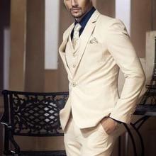 Slim Fit Mens Business Wedding Suits Tailored Made High Quality Tuxedo Beige Suit 3 Pieces Set (Jacket+Vest+ Pant)