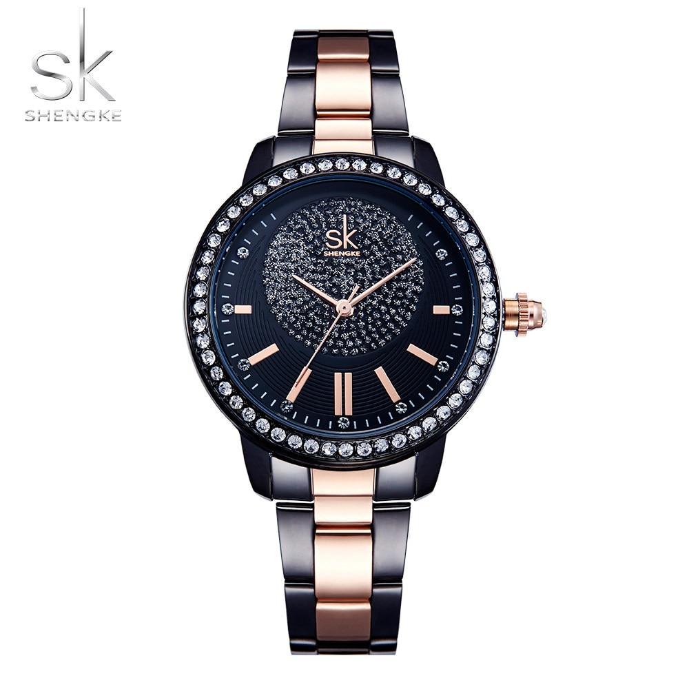 Shengke розовое золото часы Для женщин кварцевые часы Дамы Топ Марка кристалл Роскошные женские наручные часы для девочек Часы Relogio Feminino