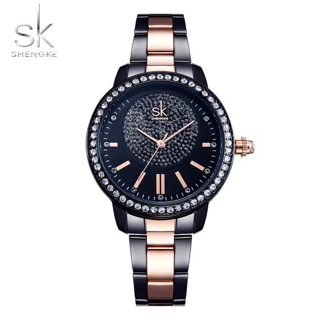 435148df4dc8 Shengke reloj de oro rosa mujeres Relojes de cuarzo señoras Top marca  CRISTAL de lujo mujer reloj chica Reloj femenino