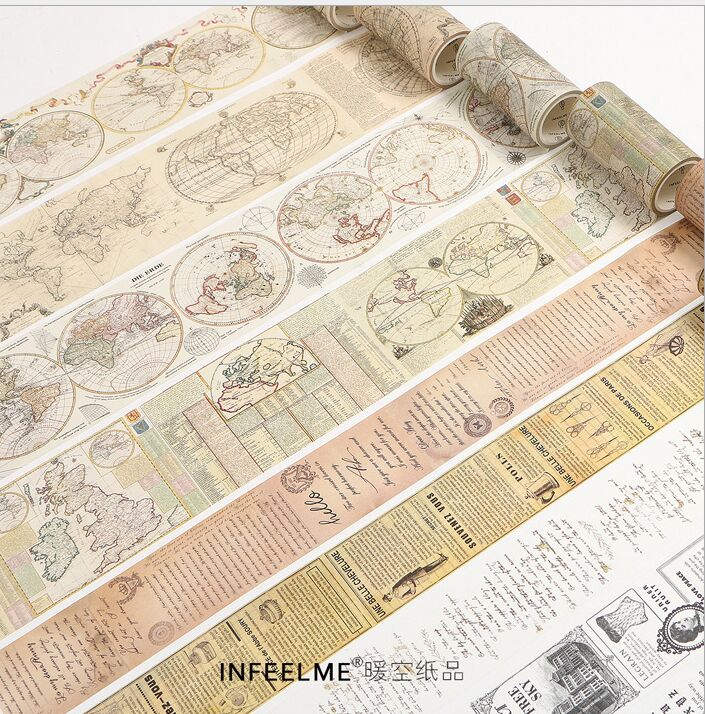 Vintage gothic Cruise sailing maps manuscript journal Decorative Planner Washi Tape DIY Diary Scrapbooking Masking Tape Escolar 200mm wide vintage city sculpture holiday travel diary decorative washi tape diy planner scrapbooking album masking tape escolar