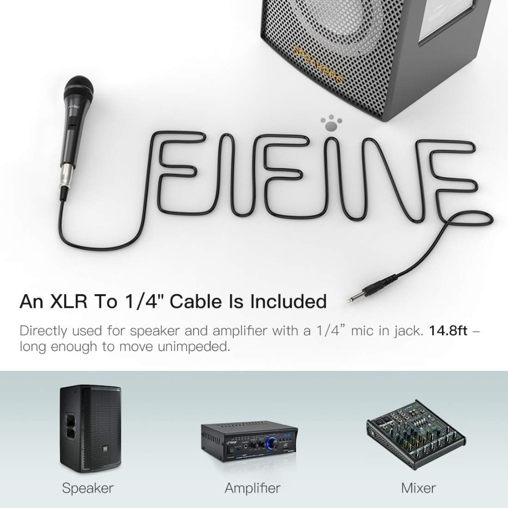 Fifine Dynamic Microphone for Speaker Vocal Microphone for Karaoke with On/Off Switch Includes 14.8ft XLR   to 1/4'' Connection 4