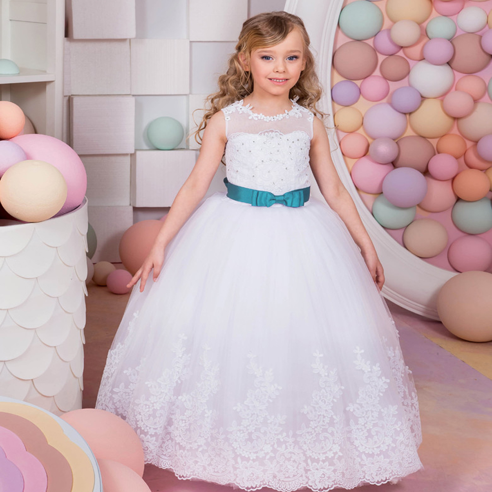 Fancy New First Communion Gowns Blue Belt Beading Sleeveless Ball Gown Flower Girl Dresses for Wedding Vestidos Longo Hot 0-12 Y 4pcs new for ball uff bes m18mg noc80b s04g