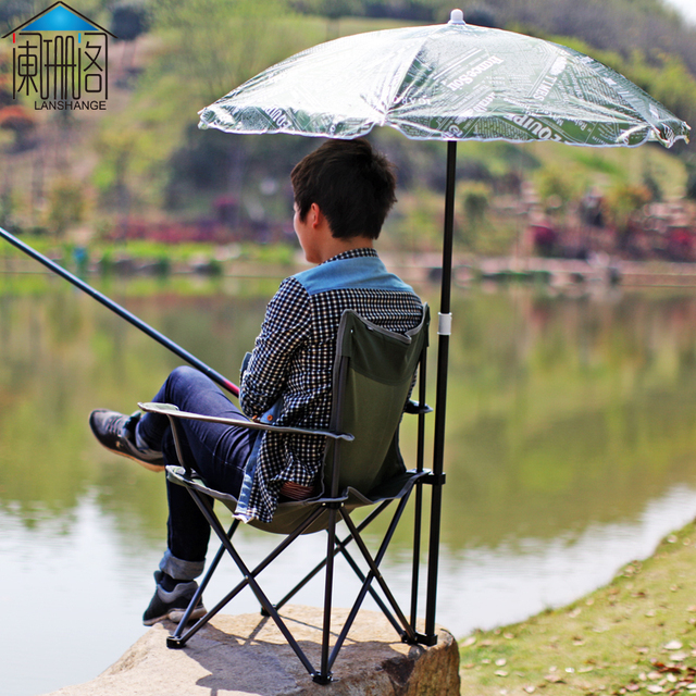 Waning Court Umbrella Outdoor Portable Folding Chair Recliner Chairs Beach Fishing Shade