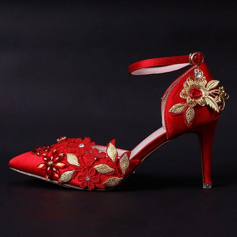 Partie Lady Mariage Feuilles Sangle Chaussures Heel 7cm Stiletto Femmes 7 Fleurs Dentelle Rouge Talons Red Mariée Boucle Cm Haute D'or Pompes Cristal De cBHqFU