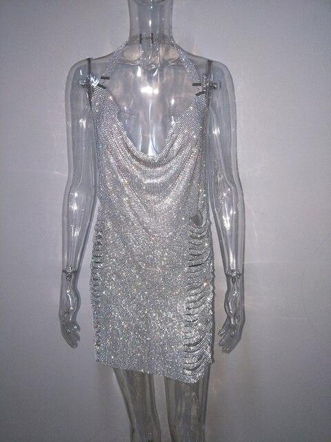 Bonnie Forest Glitter Metal Diamonds Sleeveless Split Birthday Dress Women Sexy Backless Deep V Neck Sequin Crystal Party Dress