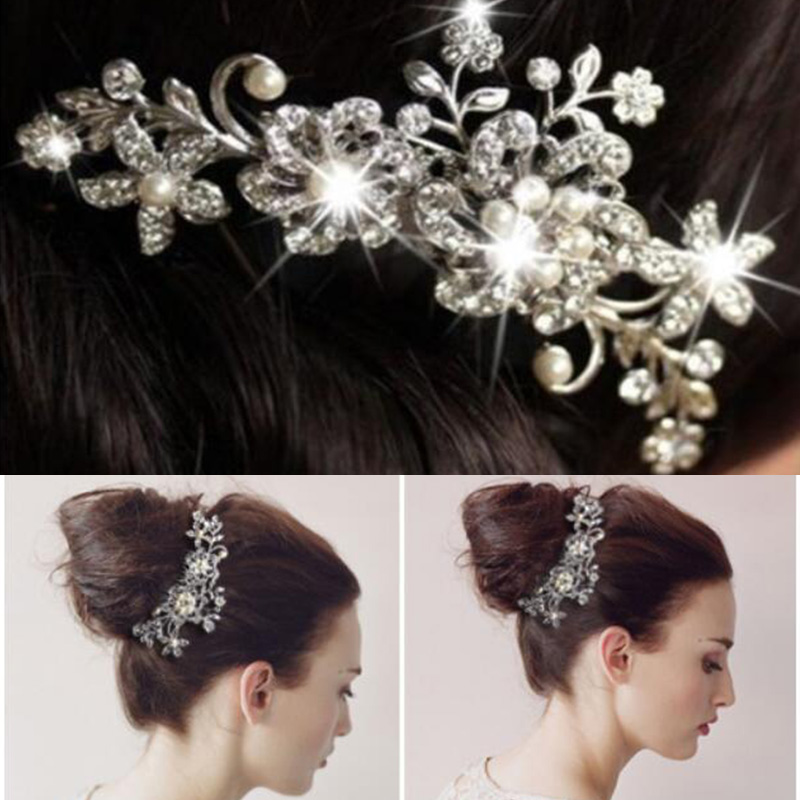 Women Wedding Hair Comb Silver/Rose Crystal Diamante Pearl Hair Comb Clip