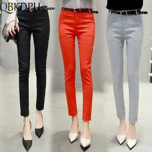 High Waist Cotton Casual Pants Women's Fashion Elegant Slim Trousers Ladys Plus Size 4XL Pencil Pant 13 Colors 2019 Autumn New