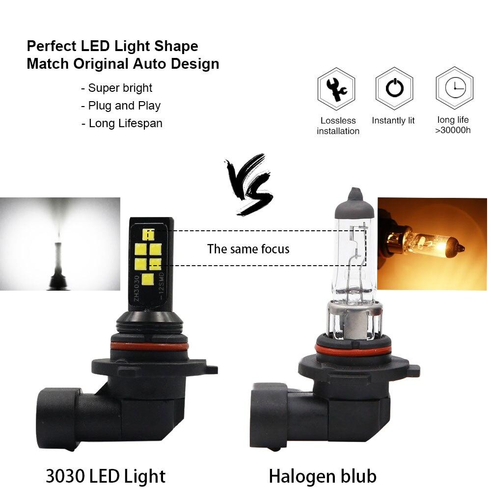Image 3 - 2 шт. H11 H8 HB4 9006 HB3 9005 Противотуманные фары 3030 чипы светодиодный фонарь DRL для вождения автомобиля ходовая лампа автоматические светодиоды светодиодный s Лампа Белый 12 ВАвтомобильная противотуманная фара    АлиЭкспресс