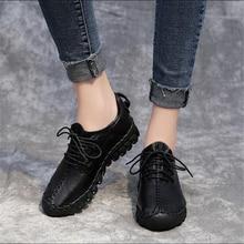 2018 primavera nueva suave zapatos para correr de cuero de las mujeres zapatos deportivos niñas de encaje planas zapatillas de deporte zapatos blancos hechos a mano zapatos atléticos