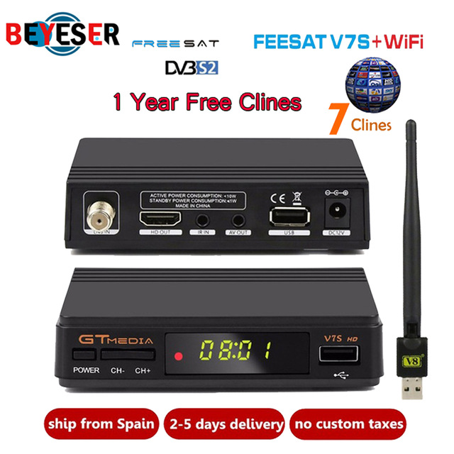 1 Year Europe 7 Clines Server GTMedia V7S HD Digital Satellite Receiver DVB-S2 Full 1080P+USB WIFI Upgrade Freesat V7