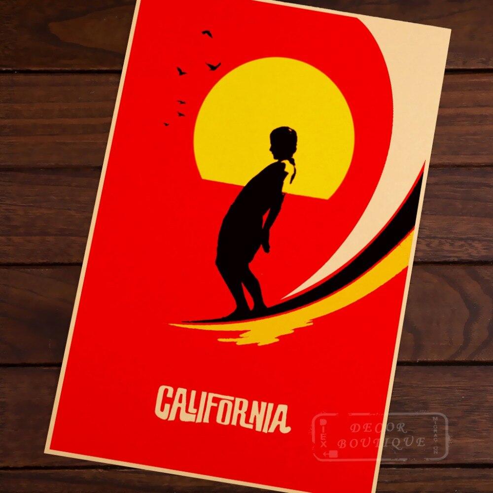 US California Surf Sports Red Travel Landscape Vintage