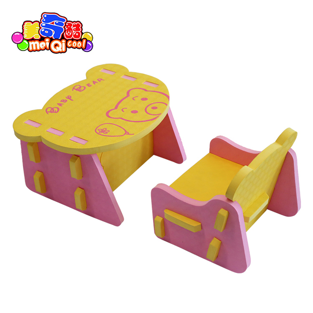 children EVA chair and desk Kids safe table infant anticollision cozy chair bear pattern form desk and chairs 0-3 years old baby
