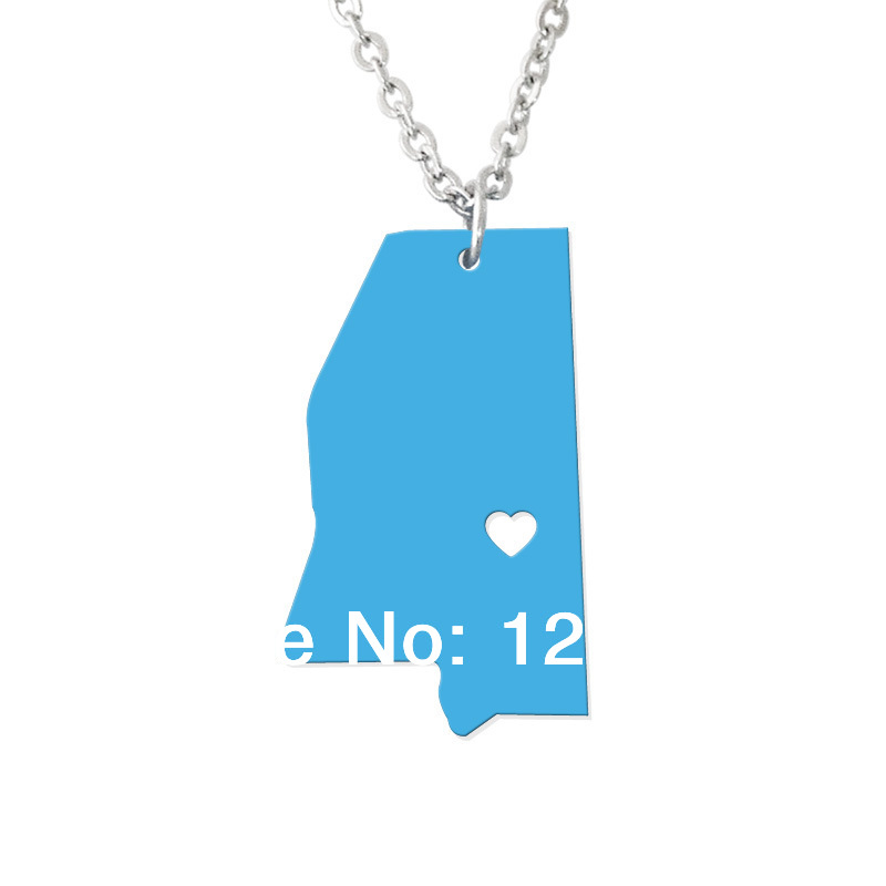 Mississippi State Necklace Map Pendant - Custom map jewelry-Personalized map charm--map necklace