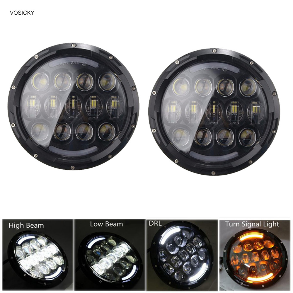 105W 7 Inch Round LED Headlight White/ amber Turn Signal DRL High Low Beam for JEEP Wrangler 2007-2015 Jk Tj Fj гель лак для ногтей runail professional runail professional ru010lwzxw53