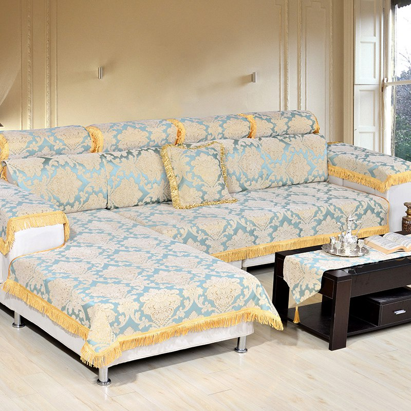 Hot Sale Sofa Couch Covers Elegent Floral Tassel Sofa Mat Pad Slip  Resistant Sofa Slipcover Home