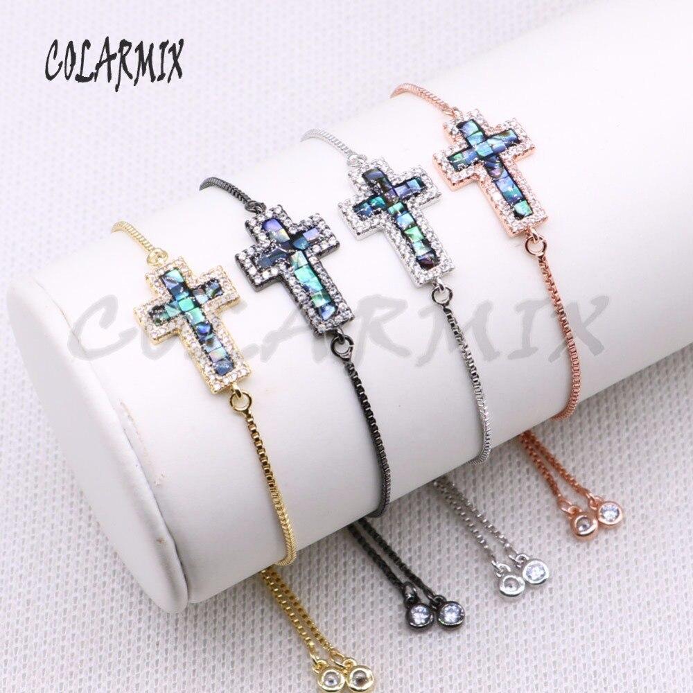 10 piece bracelets cross bracelet abalone cross wholesale jewelry micro paved jewelry bracelets for women 4291
