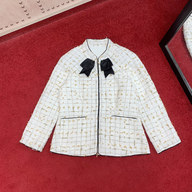 high quality 2019 fall women runway lurex plaid stand collar coats zipper pockets bow blazer jacket silk lining y351