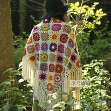 Handmade Crochet Tassel Scarf wraps women  Big flower autumn winter scarves poncho Christmas Gift granny square Scarf