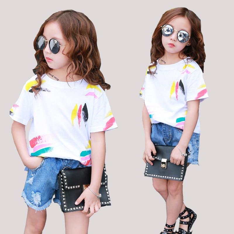 Fete Tees Tricouri cu maneci scurte Tricouri de graffiti pentru fete de îmbrăcăminte Topuri pentru copii 2 3 4 5 6 7 8 10 11 12 Ani Vara 2018 Imbracaminte pentru copii