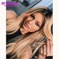 Malaysian virgin glueless full lace human hair wigs ombre #1b#27 honey blonde lace front wigs dark roots blonde hair wig